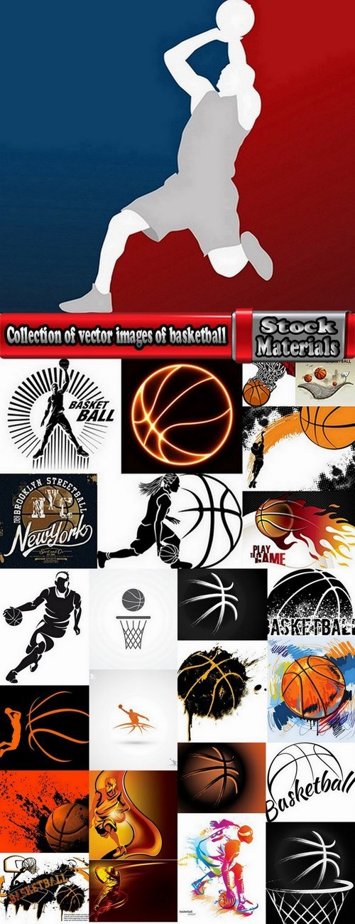 Collection of vector images of basketball 25 Eps