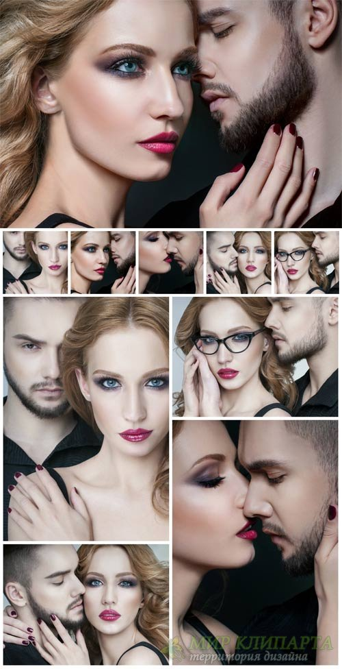 Couple in love, stylish man and woman - Stock Photo