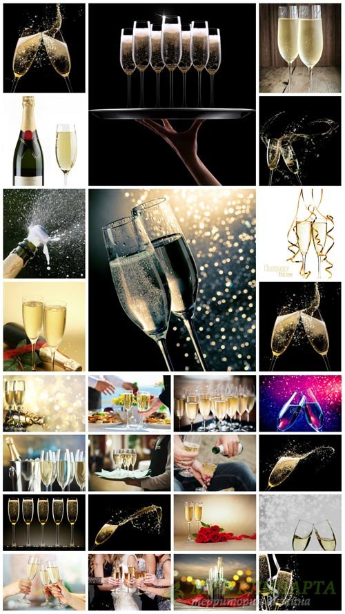 Champagne, festive table with drinks - stock photos