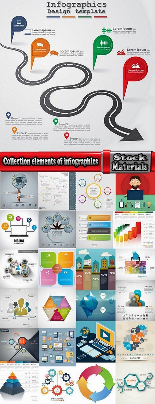 Collection elements of infographics vector image #14-25 Eps