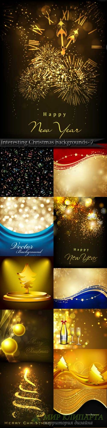 Interesting Christmas vector backgrounds- 7