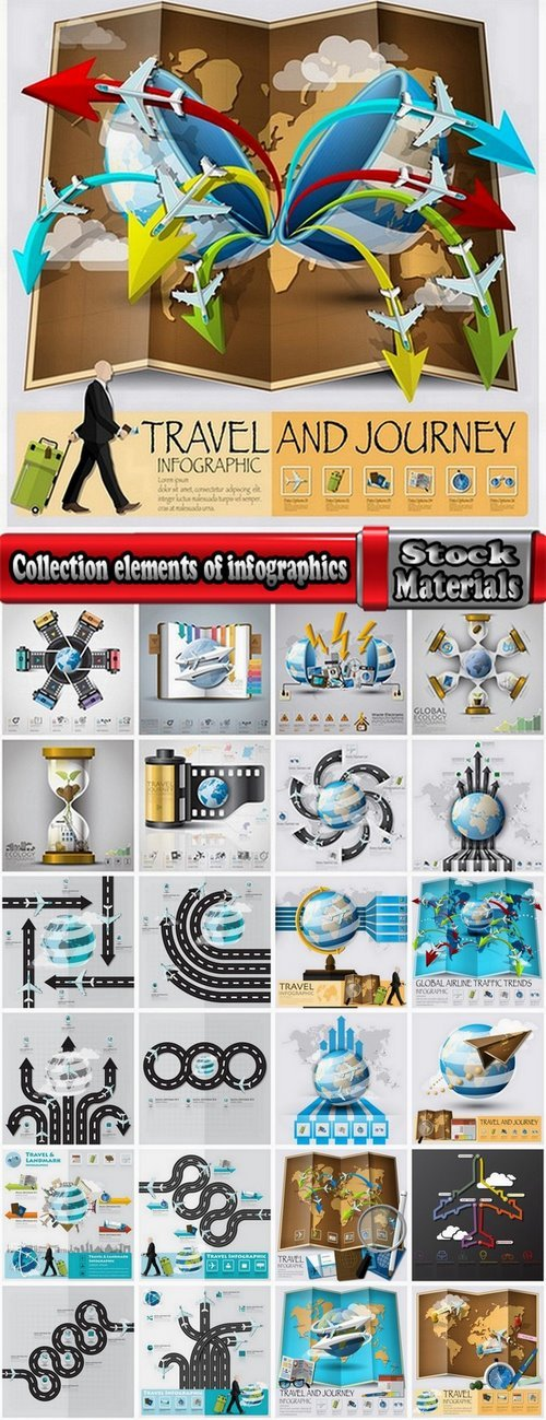 Collection elements of infographics vector image #15-25 Eps