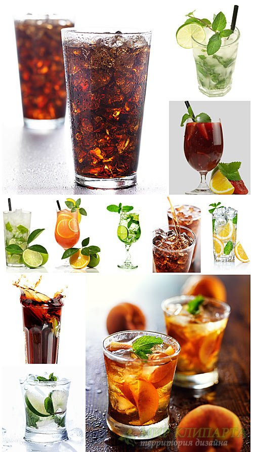 Drinks with ice, cola - stock photos