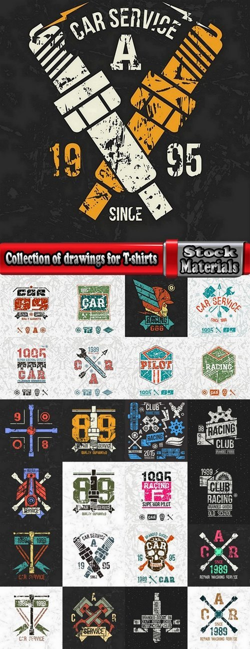 Collection of drawings for T-shirts #9-25 Eps