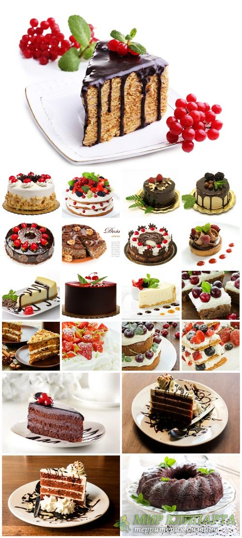 Cakes, delicious desserts - stock photos