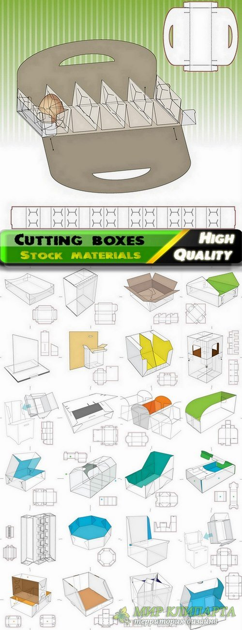 Template for cutting boxes in vector from stock #6 - 25 Eps