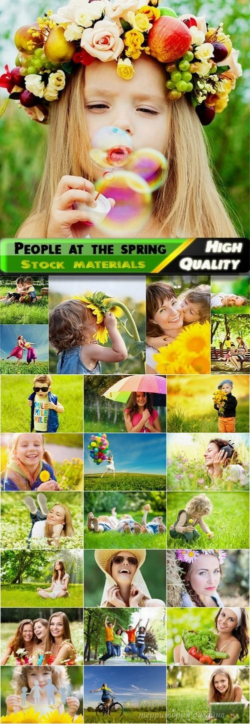 Happy people at the spring nature - 25 HQ Jpg