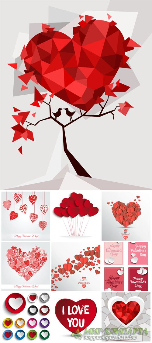 Valentine's Day, hearts, romantic vector backgrounds