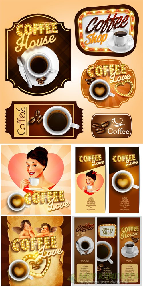 Coffee, labels and backgrounds vector