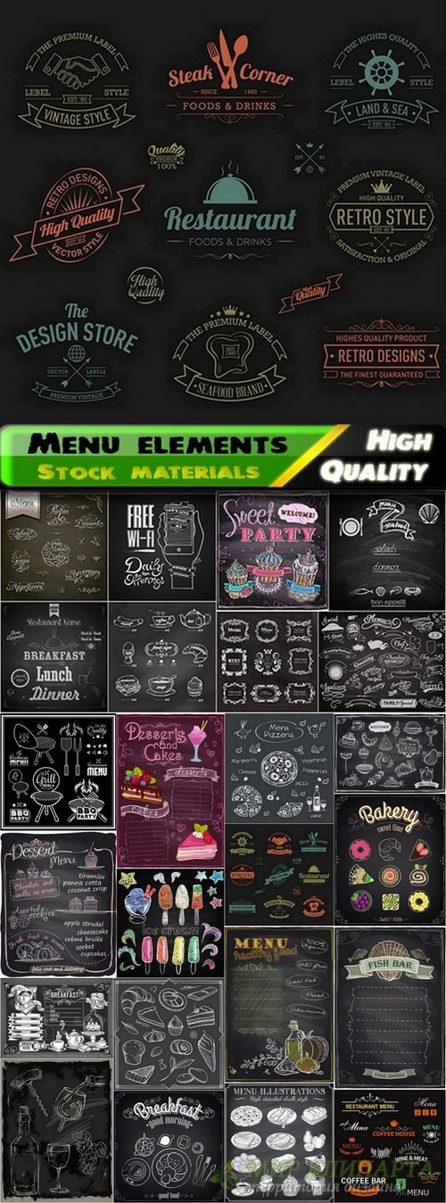 Menu template design elements in vector from stock #11 - 25 Eps