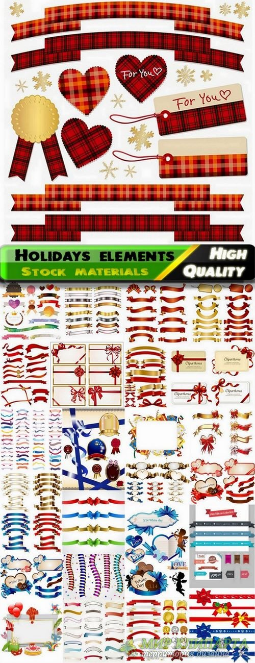 Different ribbons and holidays elements - 25 Eps
