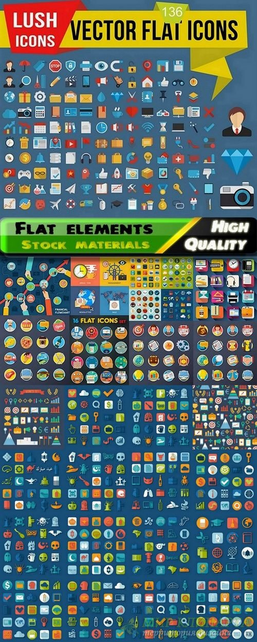 Flat elements and icons in vector from stock - 25 Eps