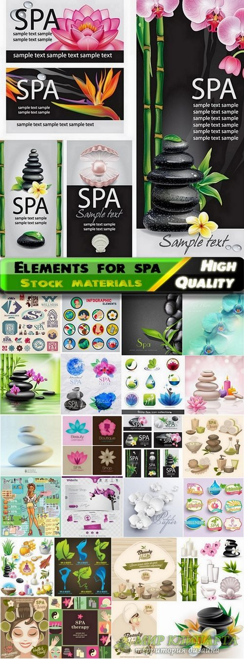 Elements and logos for spa template in vector from stock - 25 Eps