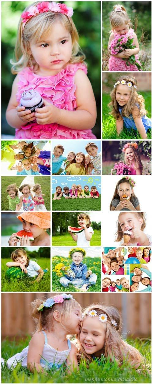 Happy children in nature - stock photos