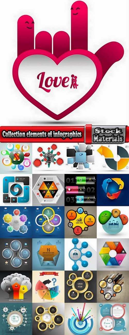 Collection elements of infographics vector image #16-25 Eps