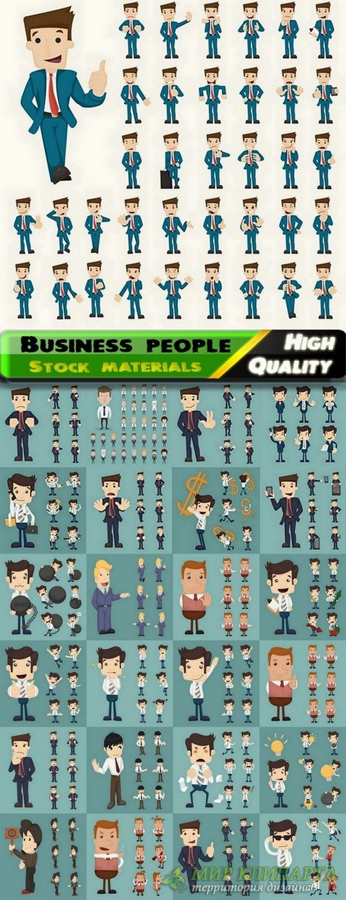 Business people and businessmen in vector from stock - 25 Eps