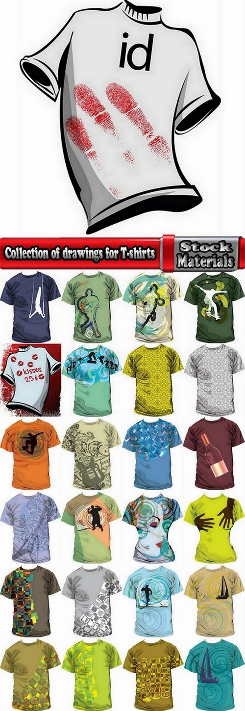 Collection of drawings for T-shirts #11-25 Eps