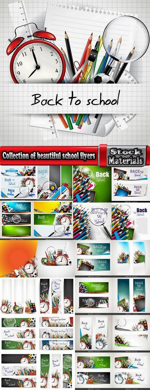 Collection of beautiful school flyers 25 Eps