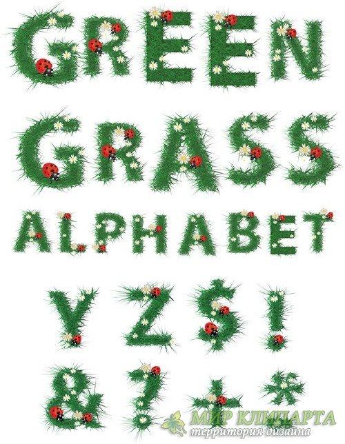 Алфавит: Зеленая трава, латинские буквы (прозрачный фон)