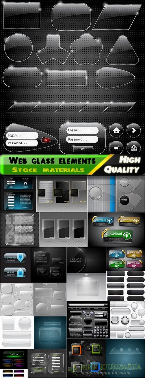 Web glass banners and elements for site design - 24 Eps