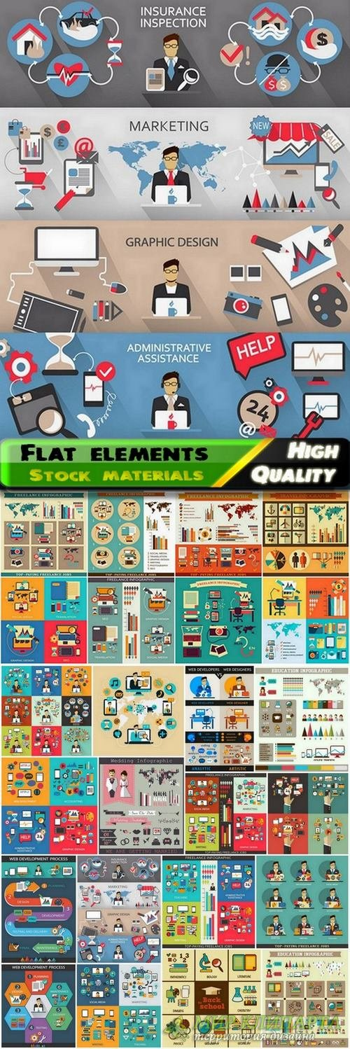 Flat elements Infographic design in vector from stock - 25 Eps