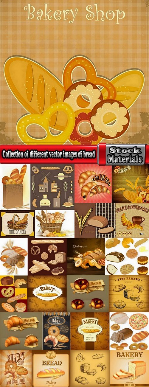 Collection of different vector images of bread and bakery products 25 Eps