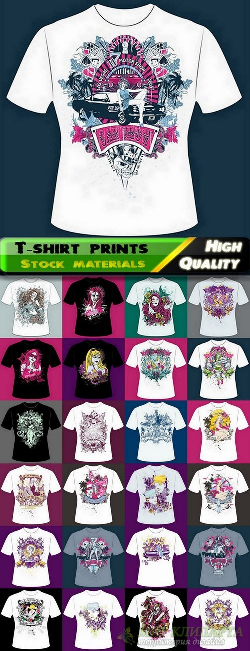 T-shirt prints design in vector from stock #34 - 25 Eps