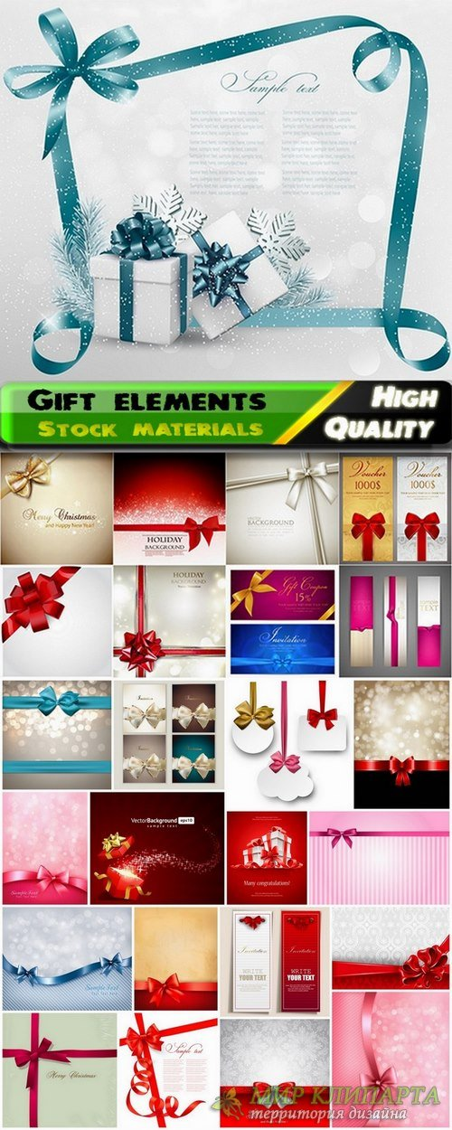 Gift elements and holiday backgrounds - 25 Eps