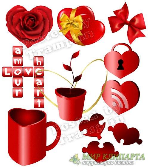 Клипарт День Святого Валентина – Сердца прозрачный фон