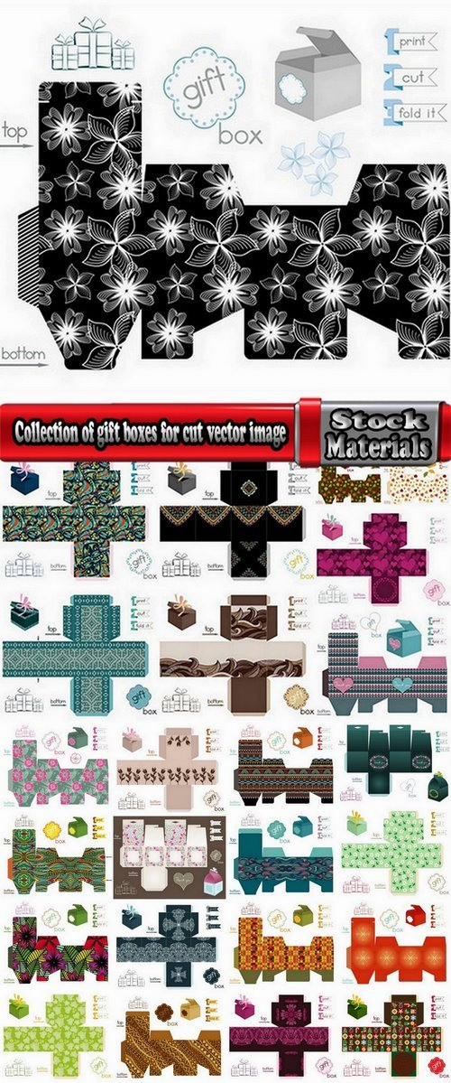 Collection of gift boxes for cut vector image #3-25 Eps