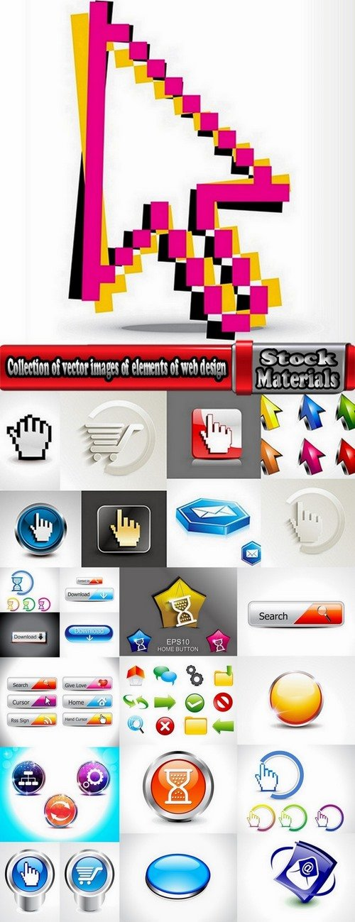 Collection of vector images of elements of web design #2-25 Eps