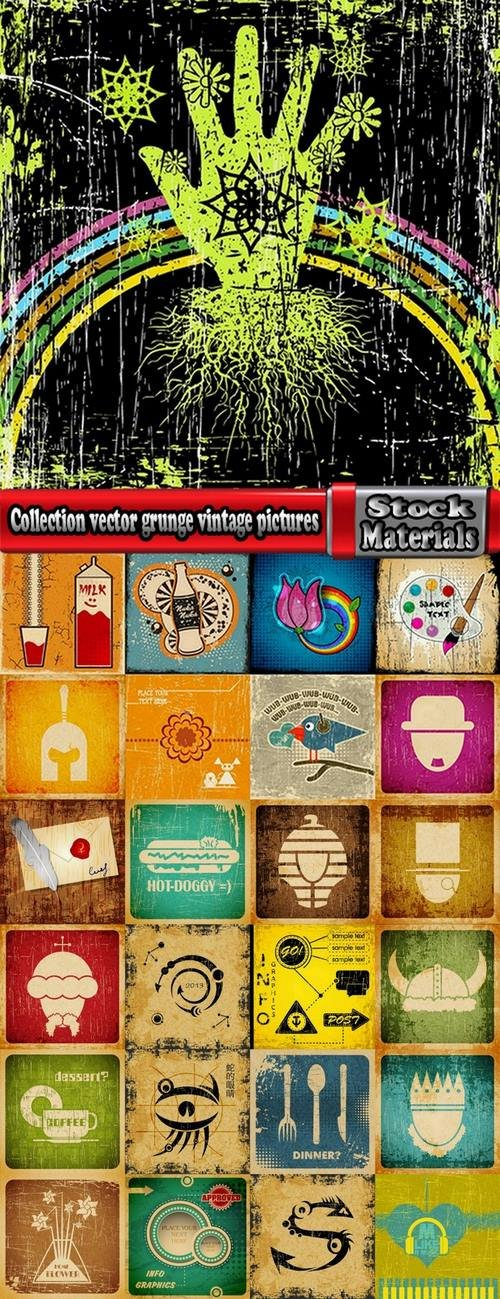 Collection vector grunge vintage pictures 25 Eps