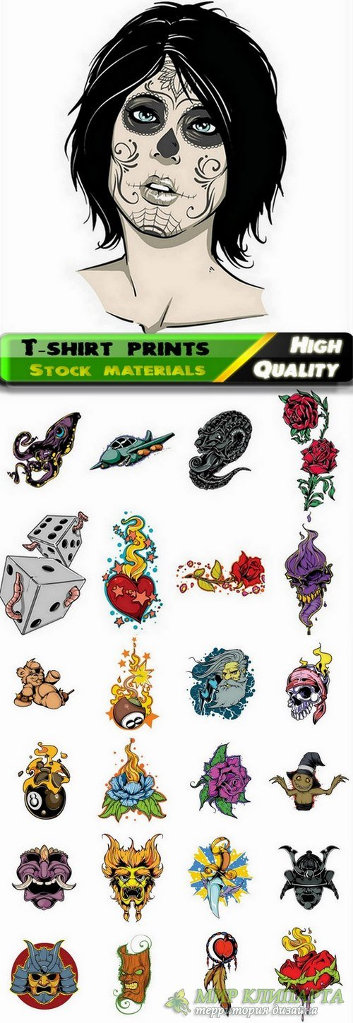 T-shirt prints design in vector from stock #35 - 25 Eps