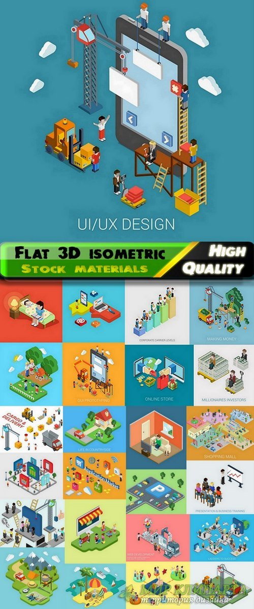 Flat 3D isometric elements and icons - 25 Eps