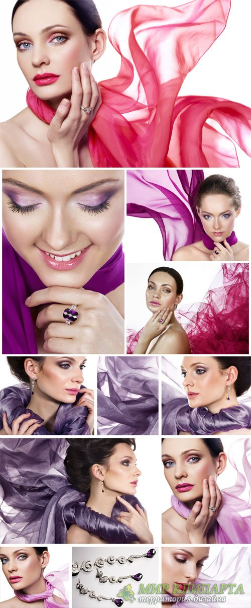 Beautiful girl in shawls - stock photos