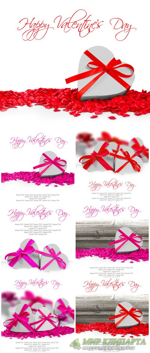 Valentine's Day hearts with red and pink ribbons - stock photos