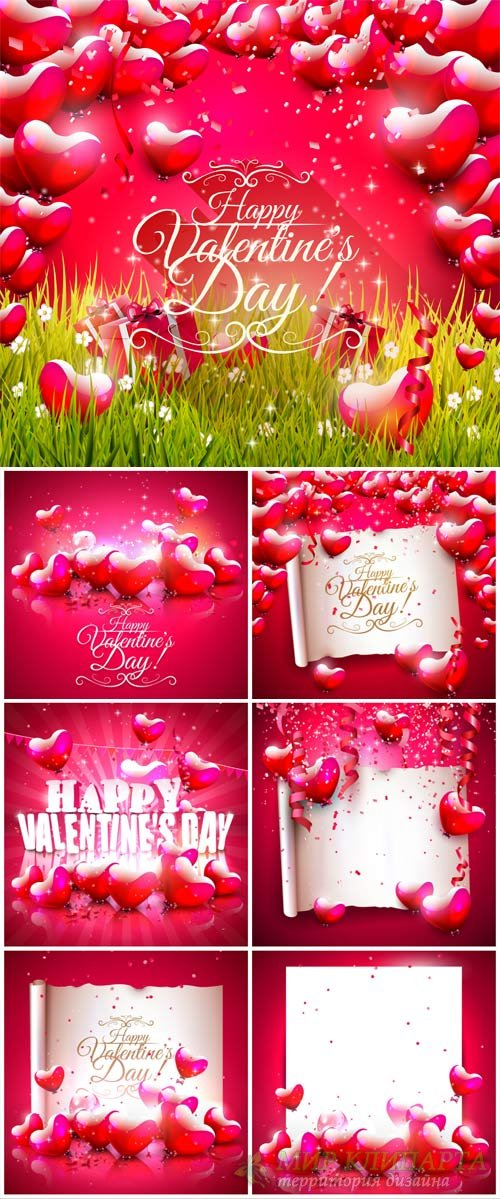 Valentine's Day, backgrounds, hearts, vector # 6