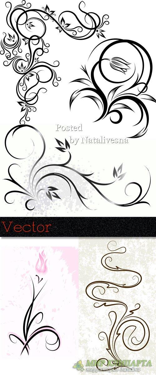 Декоративные цветочные узоры и элементы  для дизайна в Векторе