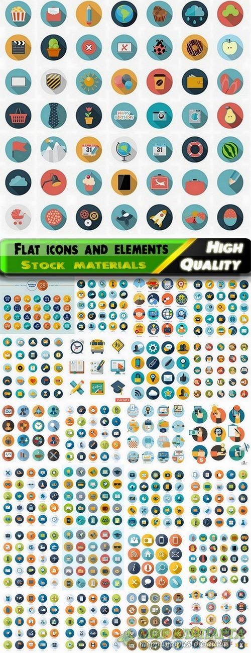 Flat icons and elements for web design - 25 Eps