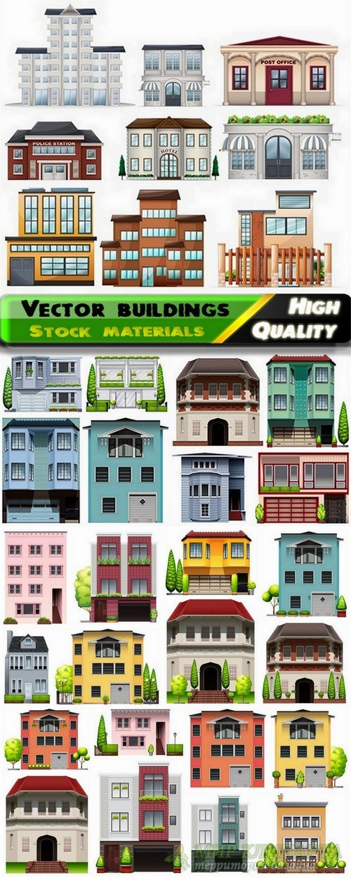 Different buildings and exteriors design in vector from stock - 25 Eps