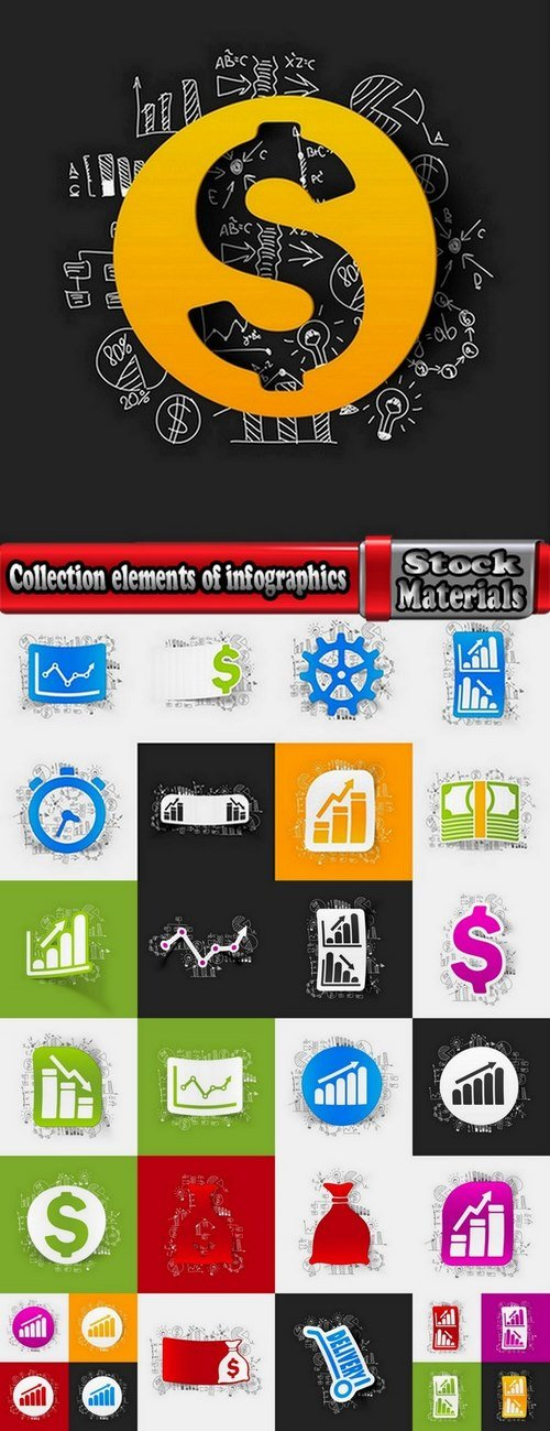 Collection elements of infographics vector image #17-25 Eps