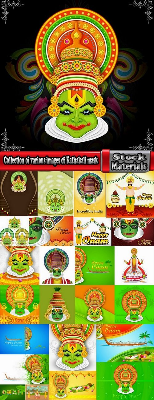 Collection of various images of Kathakali mask 25 Eps