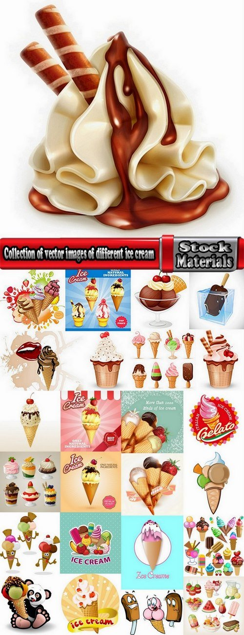 Collection of vector images of different ice cream 25 Eps