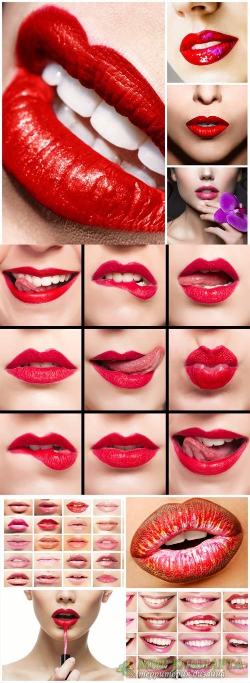 Female lips, beautiful make-up - stock photos