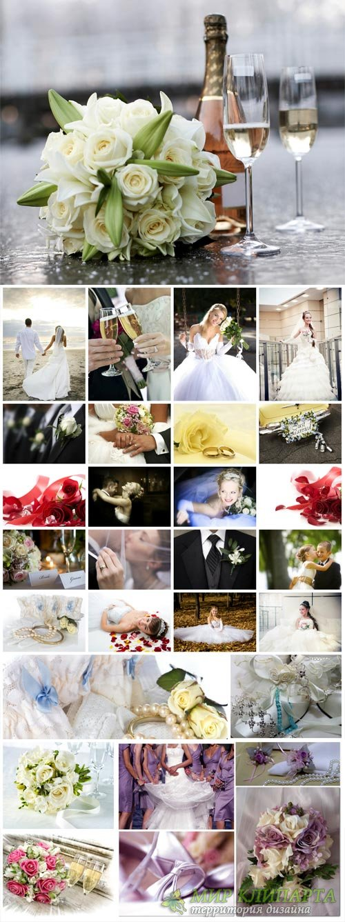 Wedding collage, bride and groom, wedding attributes #2 - stock photos