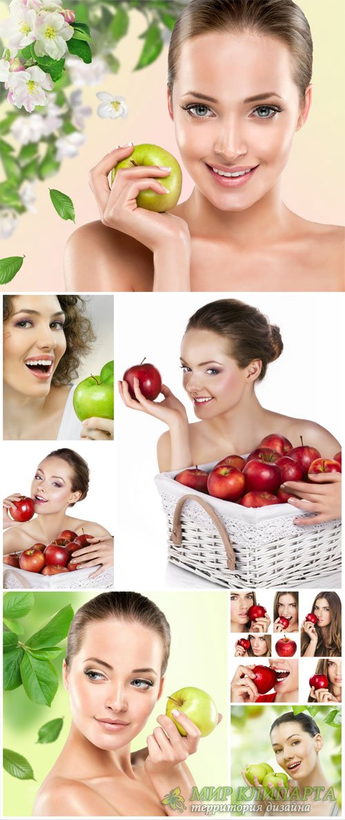 Beautiful girls with apples - stock photos