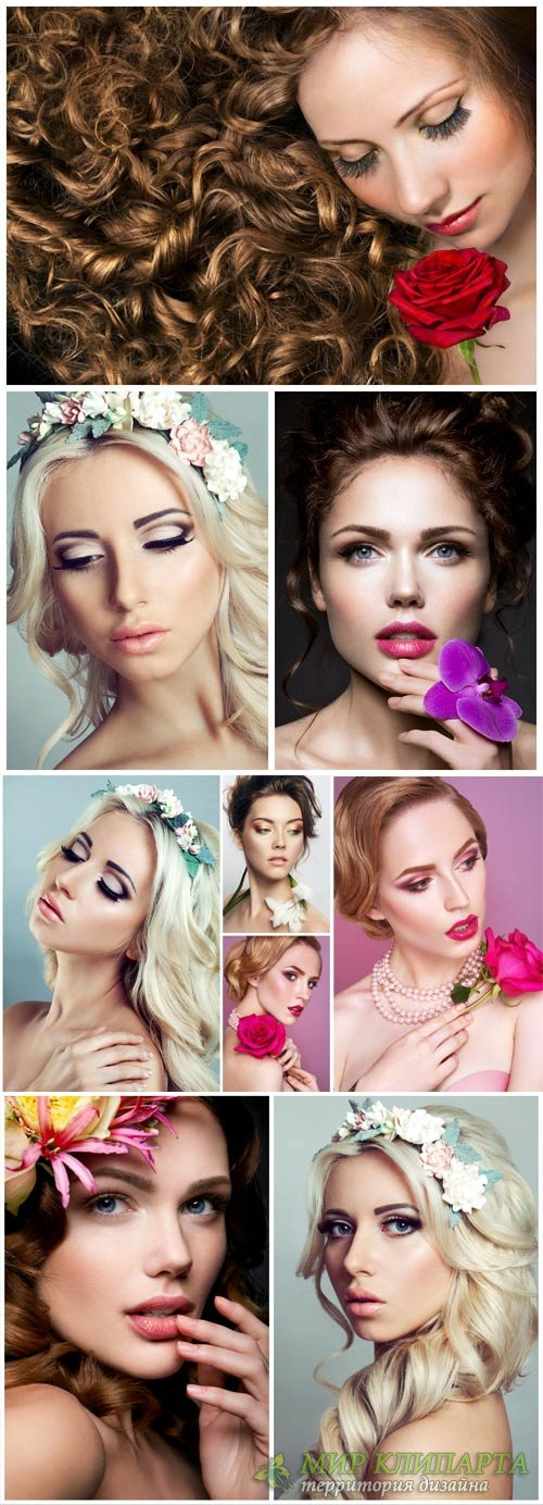 Girls and flowers, beautiful female hairstyles - stock photos