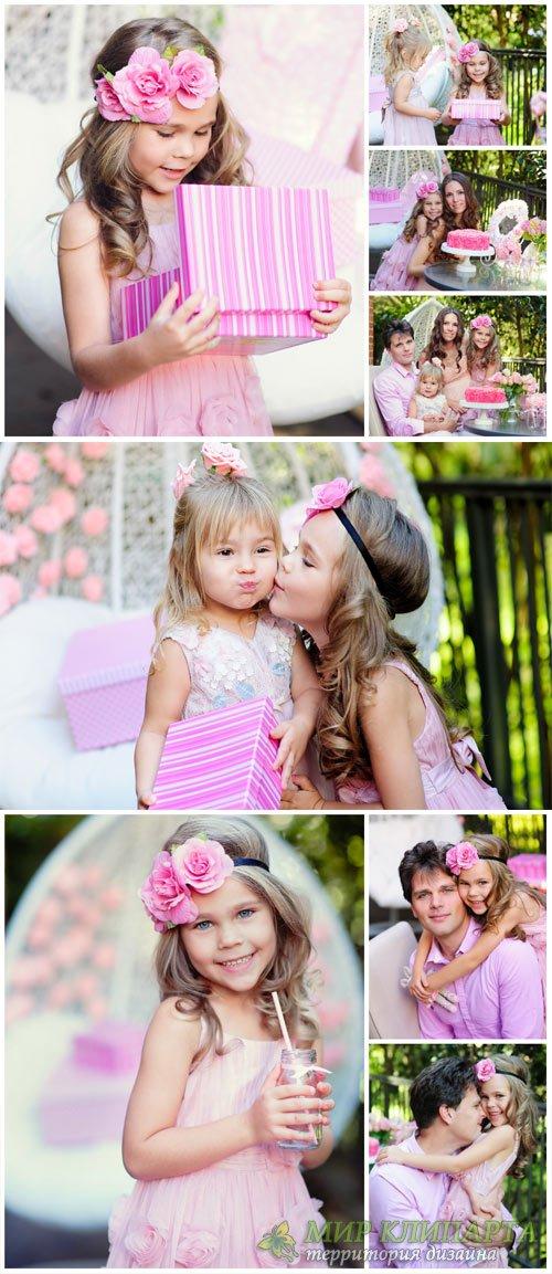 Children's birthday, happy family - stock photos
