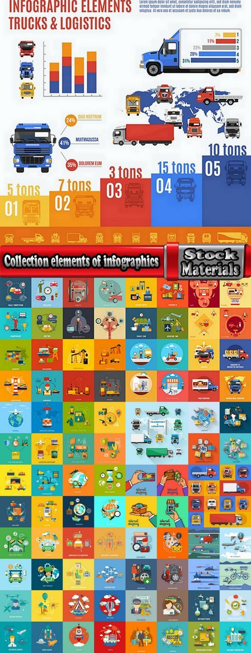 Collection elements of infographics vector image #18-25 Eps