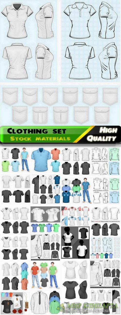 Set of mens and womens clothing in vector from stock - 25 Eps